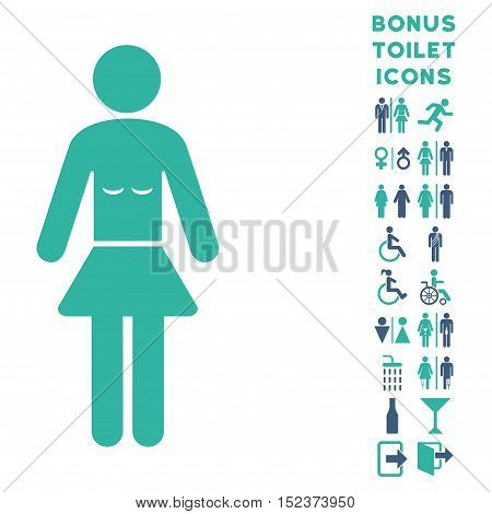 Lady icon and bonus male and woman lavatory symbols. Vector illustration style is flat iconic bicolor symbols, cobalt and cyan colors, white background.