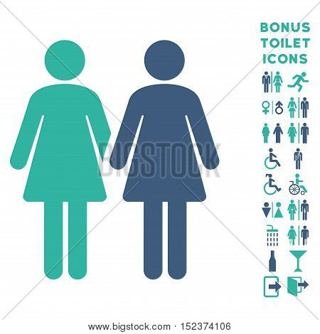 Lesbi Couple icon and bonus male and woman WC symbols. Vector illustration style is flat iconic bicolor symbols, cobalt and cyan colors, white background.