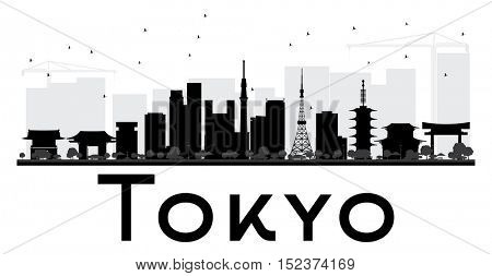 Tokyo City skyline black and white silhouette. Simple flat concept for tourism presentation, banner, placard or web site. Business travel concept. Cityscape with landmarks