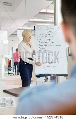 Mature businesswoman giving presentation using flipchart in meeting room
