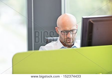 Mid adult businessman using computer in office