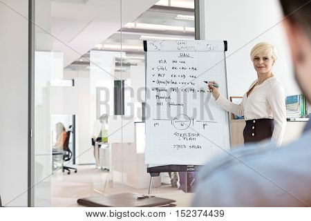 Mature businesswoman giving presentation using flipchart in board room