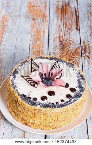 Poppy Seeds, Walnut And Raisins Sponge Cake Layered With Cream