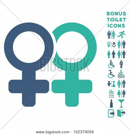 Lesbi Pair icon and bonus man and female toilet symbols. Vector illustration style is flat iconic bicolor symbols, cobalt and cyan colors, white background.