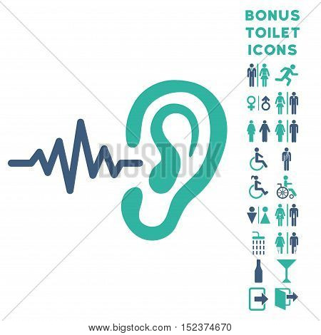 Listen Ear icon and bonus male and woman lavatory symbols. Vector illustration style is flat iconic bicolor symbols, cobalt and cyan colors, white background.