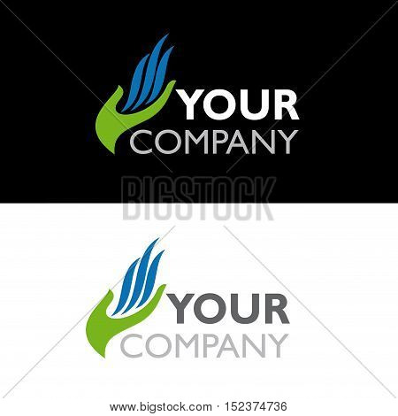 Vector sign hand and flame illustration isolated in white and black