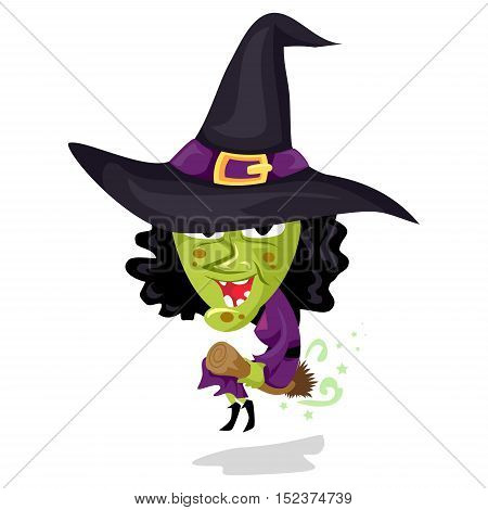 Vector Illustration of Cartoon Evil Witch Flying on Broom