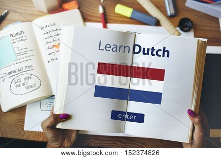 Learn Dutch Language Online Education Concept
