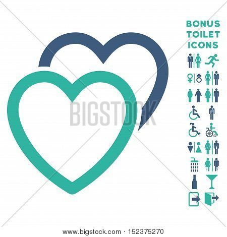 Love Hearts icon and bonus man and lady WC symbols. Vector illustration style is flat iconic bicolor symbols, cobalt and cyan colors, white background.