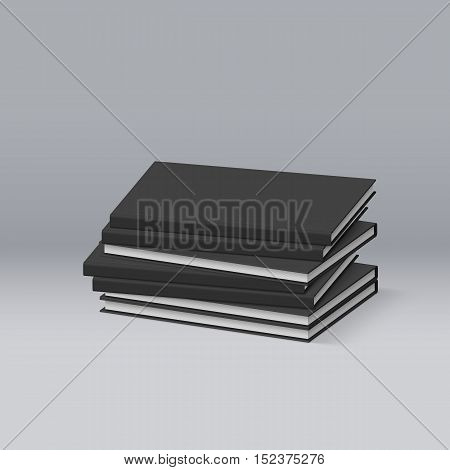 Stack of Blank Black Books. Presentation of Your Branding and Identity Design