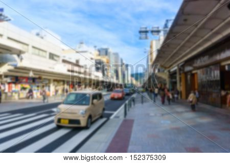 Blurred background.Shijo and Kawaramachi streets in downtown Kyoto Japan