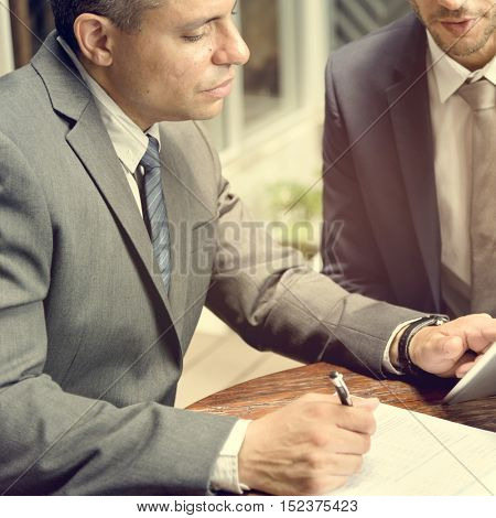 Two Businessmen Cafe Meeting Concept