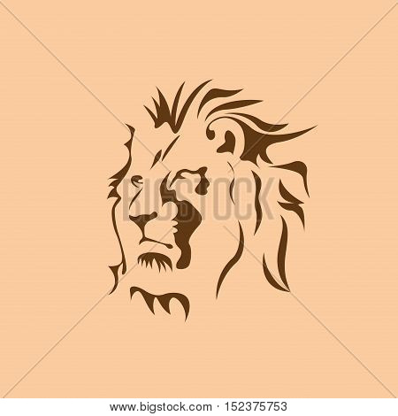Vector sign brown lion illustration isolated in brown