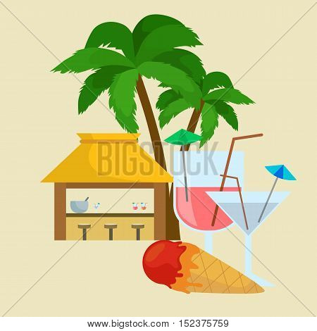 Beach bar. Summer tropical bar under the palm tree with ice cream and cocktails, Summer drinks in vacation. Relax in traveling on the beach bar card poster template banner. Vector illustration.