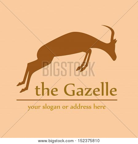 Vector sign abstract African gazelle jumping illustration