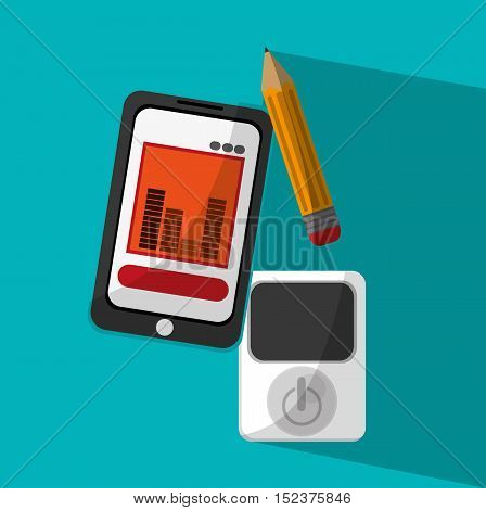 Smartphone pencil and mp3 icon. Business news office and management theme. Colorful design. Vector illustration