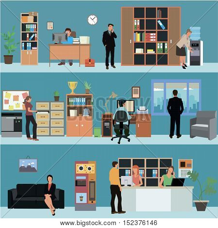 Vector set of office interior banners in flat style design. Business people and office workers. Company reception room.