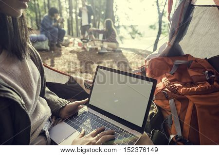 Girl Typing Laptop Copy Space Concept