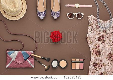 Trendy fashion Design Outfit. Fashion woman Clothes Accessories Set. Essentials Fashion Cosmetic Makeup. Stylish dress Glamor handbag, Trendy Shoes, Rose. Top view. Creative fashion Cosmetic Overhead