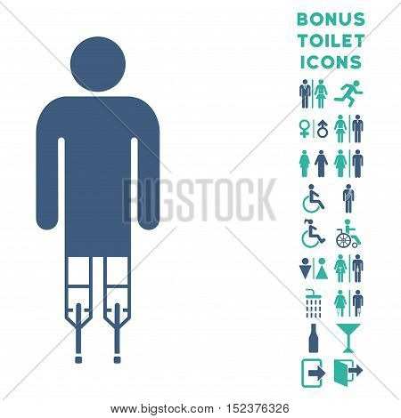 Man Crutches icon and bonus man and woman WC symbols. Vector illustration style is flat iconic bicolor symbols, cobalt and cyan colors, white background.