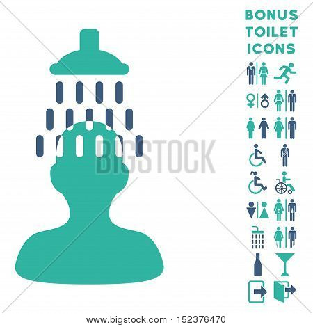 Man under Shower icon and bonus man and female toilet symbols. Vector illustration style is flat iconic bicolor symbols, cobalt and cyan colors, white background.
