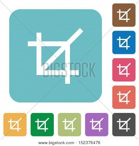 Flat crop tool icons on rounded square color backgrounds.
