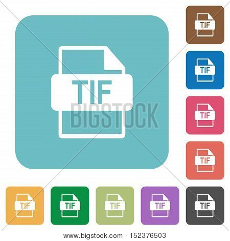 Flat TIF file format icons on rounded square color backgrounds.