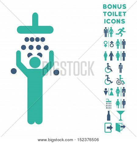 Man under Shower icon and bonus gentleman and lady lavatory symbols. Vector illustration style is flat iconic bicolor symbols, cobalt and cyan colors, white background.