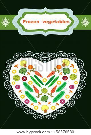 Beautiful creative original designs.Vegetables and snowflakes.Frozen vegetables.For further use in the design of the packaging of frozen vegetables.Editable and scalable vector illustration.