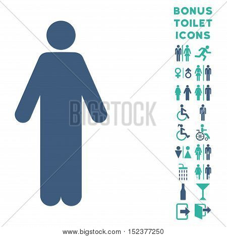 Man icon and bonus gentleman and woman lavatory symbols. Vector illustration style is flat iconic bicolor symbols, cobalt and cyan colors, white background.