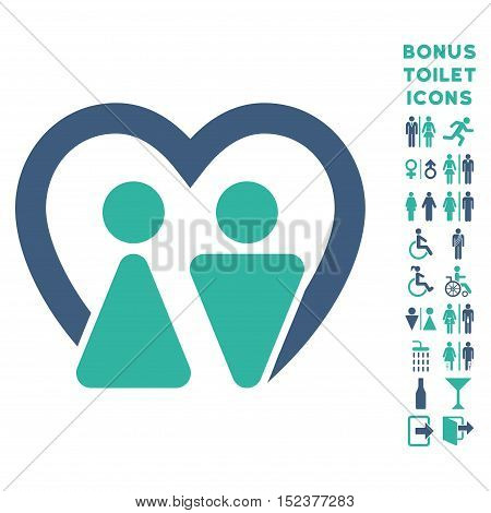 Marriage icon and bonus man and female toilet symbols. Vector illustration style is flat iconic bicolor symbols, cobalt and cyan colors, white background.