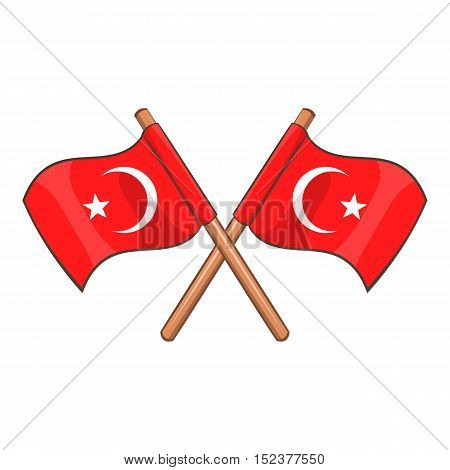 Turkey crossed flags icon. Cartoon illustration of Turkey flags vector icon for web design