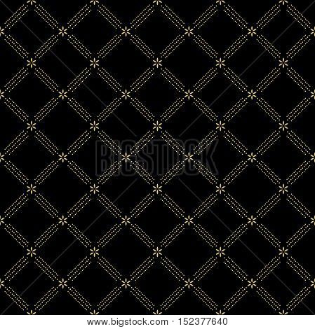 Geometric repeating ornament with diagonal dotted lines. Seamless abstract modern background. Black and golden pattern