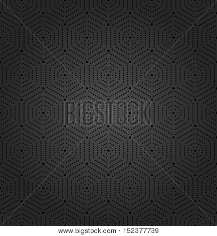Geometric repeating dark ornament with hexagonal black dotted elements. Seamless abstract modern pattern