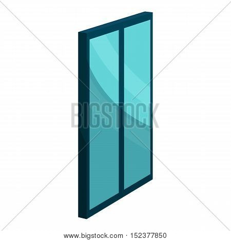 Blue glass door icon. Cartoon illustration of door vector icon for web design