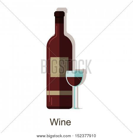 Vector icon red wine bottle. Alcohol drink â?? wine bottle and wine glass. Vector flat colorful champagne bottle with shadow. Isolated on white background.
