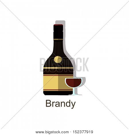 Brandy alcohol drink â?? vector bottle and wine glass. Vector flat colorful brandy bottle with shadow. Isolated on white background.
