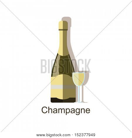 Champagne alcohol drink â?? vector bottle and wine glasses.