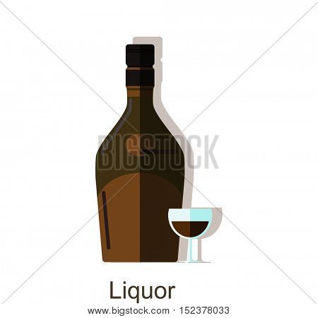 Vector icon liquor bottle. Alcohol drink â?? liquor bottle and wineglass. Isolated on white background.