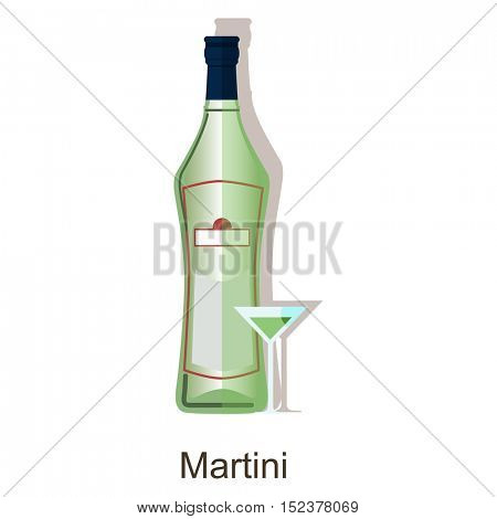 Martini alcoholic drinks. Pair of martini bottle and special wine glass. Vector colorful flat icon with shadow. Isolated on white background.