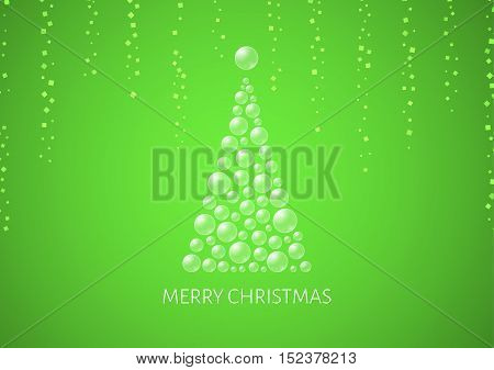 Christmas Poster With Abstract Bubble Tree