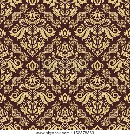 Oriental classic pattern. Seamless abstract background with repeating elements. Brown and golden pattern