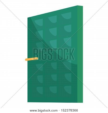 Green house door icon. Cartoon illustration of door vector icon for web design