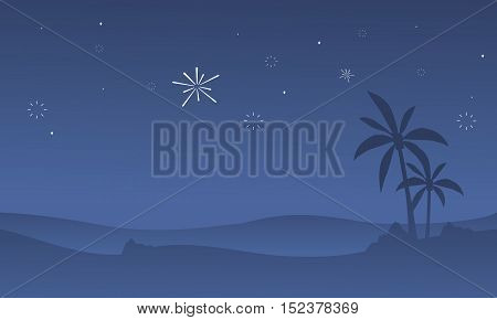Silhouette of dessert with firework scenery vector art