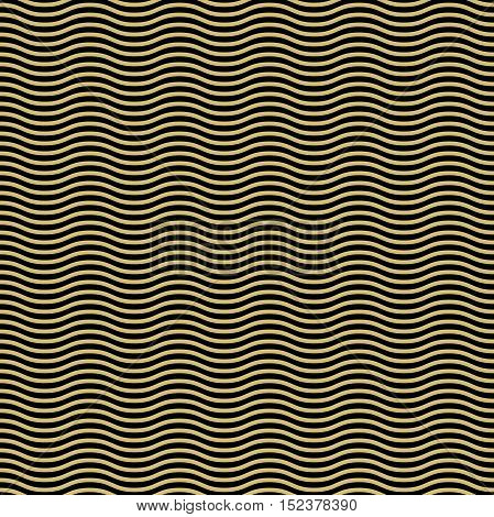 Seamless ornament. Modern geometric pattern with repeating black and gkolden wavy lines