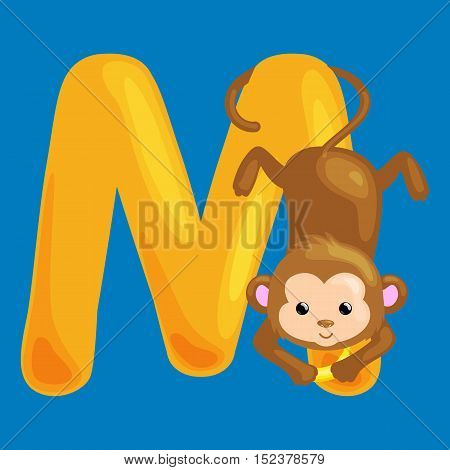monkey animal and letter M for kids abc education in preschool.Cute animals letters english alphabet. Cartoon animals alphabet for learning letters vector illustration. Single letter with wild animal monkey