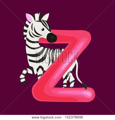 zebra animal and letter Z for kids abc education in preschool.Cute animals letters english alphabet. Cartoon animals alphabet for learning letters vector illustration. Single letter with wild animal zebra