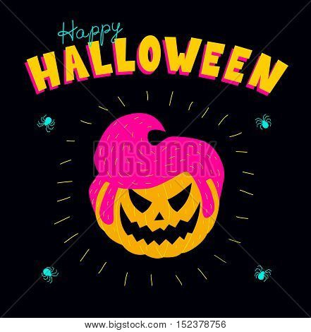 Halloween greeting card. Vector illustration of a pumpkin with a male rockabilly hairstyle. Vibrant colors on a black background square format.