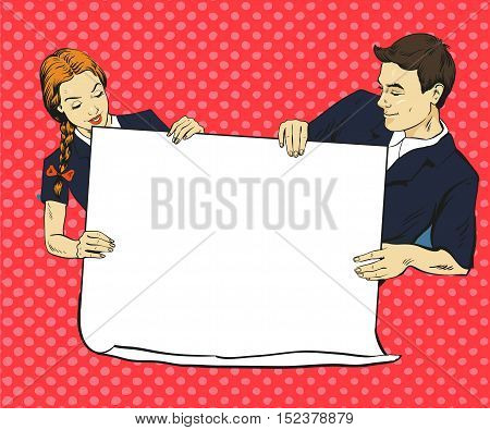 School boy and girl hold blank white paper poster. Vector illustration in comic pop art style. Put your own text.