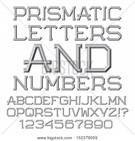 Gray faceted letters and numbers. Prismatic retro font. Isolated English alphabet with figures.
